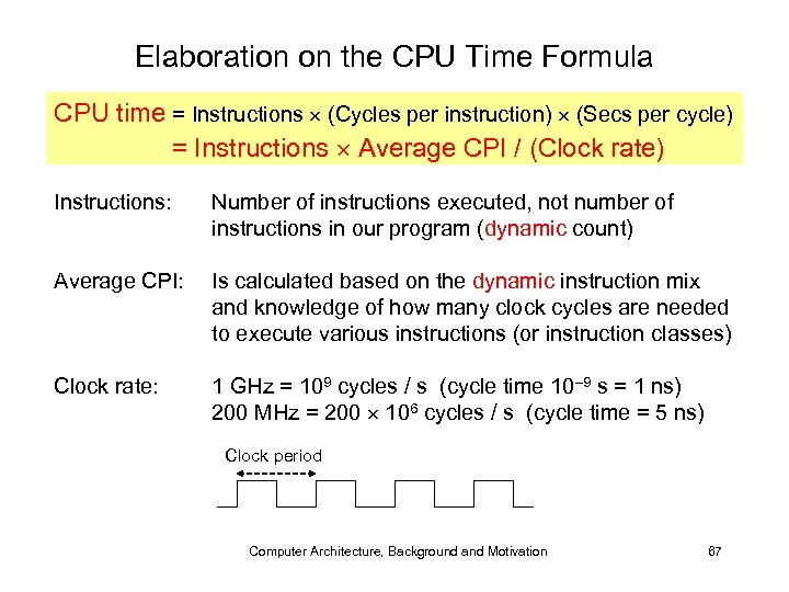 Elaboration on the CPU Time Formula CPU time = Instructions (Cycles per instruction) (Secs