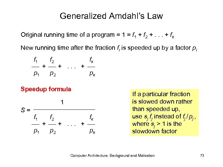 Generalized Amdahl's Law Original running time of a program = 1 = f 1
