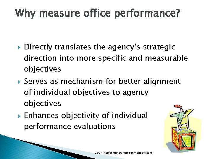 Why measure office performance? Directly translates the agency's strategic direction into more specific and