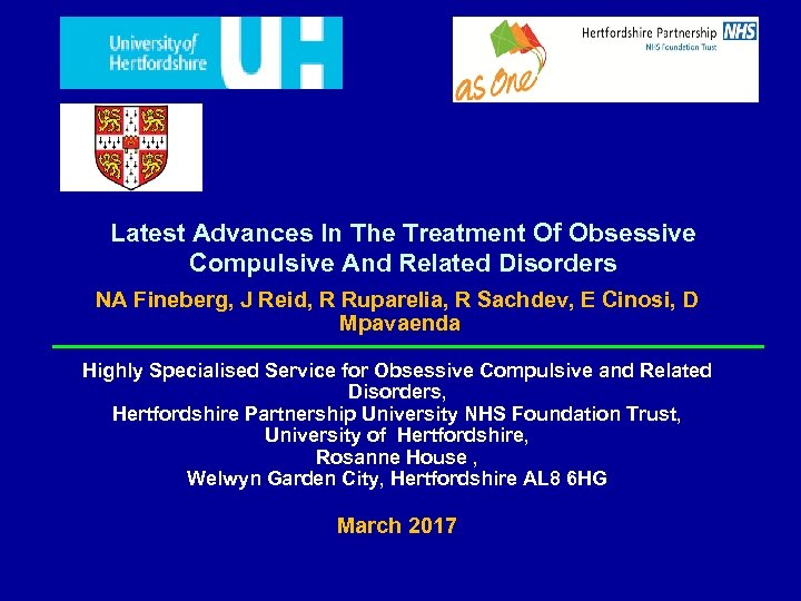 Latest Advances In The Treatment Of Obsessive Compulsive And Related Disorders NA Fineberg, J