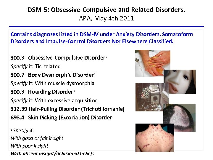 DSM-5: Obsessive-Compulsive and Related Disorders. APA, May 4 th 2011 Contains diagnoses listed in