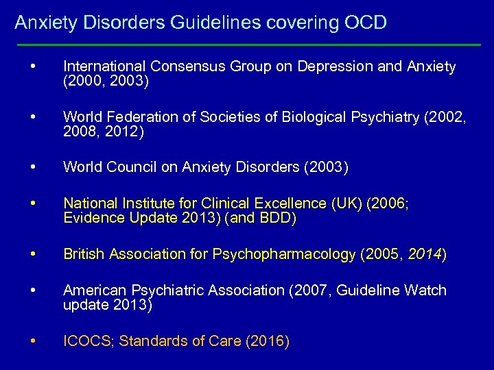 Anxiety Disorders Guidelines covering OCD • International Consensus Group on Depression and Anxiety (2000,