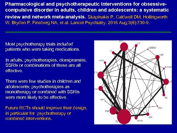 Pharmacological and psychotherapeutic interventions for obsessivecompulsive disorder in adults, children and adolescents: a systematic