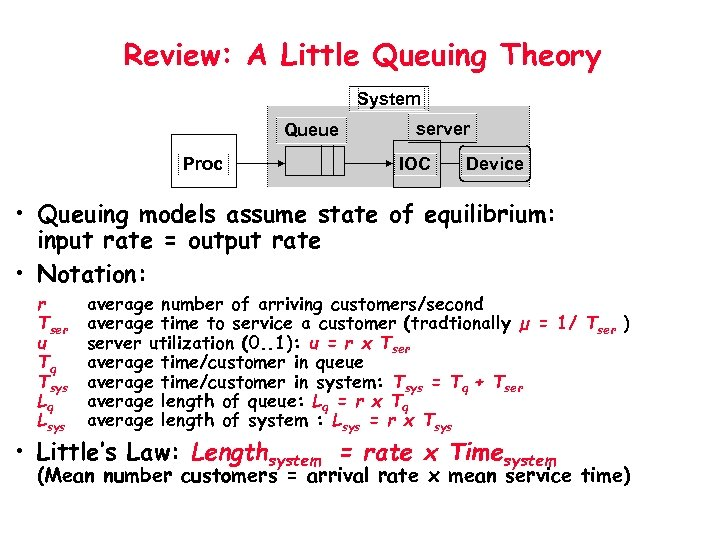 Review: A Little Queuing Theory System Queue Proc server IOC Device • Queuing models