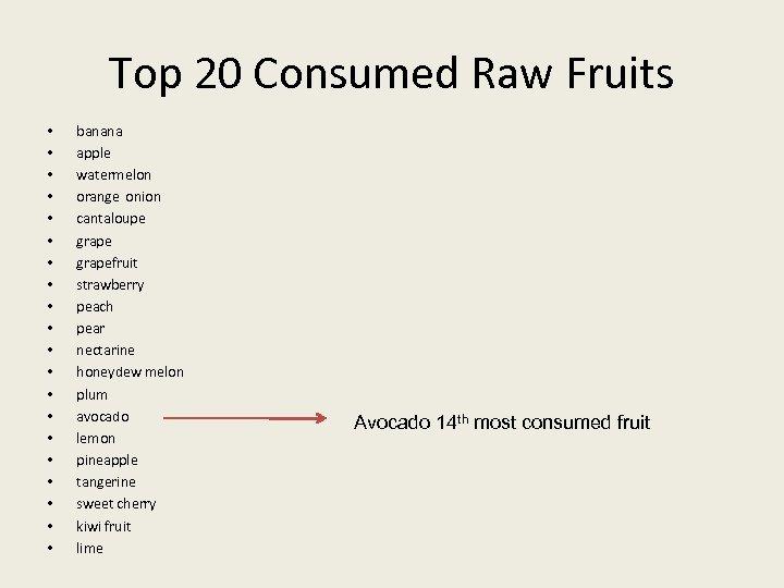 Top 20 Consumed Raw Fruits • • • • • banana apple watermelon orange