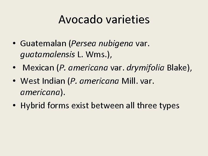 Avocado varieties • Guatemalan (Persea nubigena var. guatamalensis L. Wms. ), • Mexican (P.