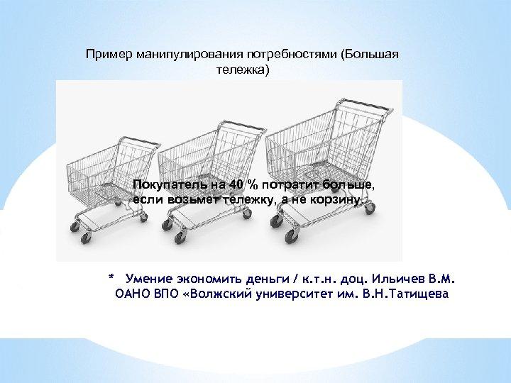 Пример манипулирования потребностями (Большая тележка) Покупатель на 40 % потратит больше, если возьмет тележку,
