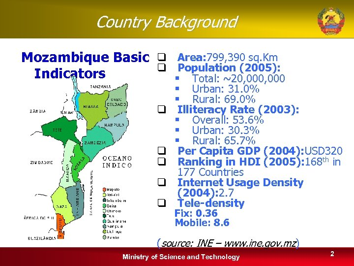 Country Background Mozambique Basic q Area: 799, 390 sq. Km q Population (2005): Indicators