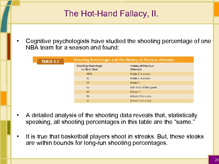 The Hot-Hand Fallacy, II. • Cognitive psychologists have studied the shooting percentage of one