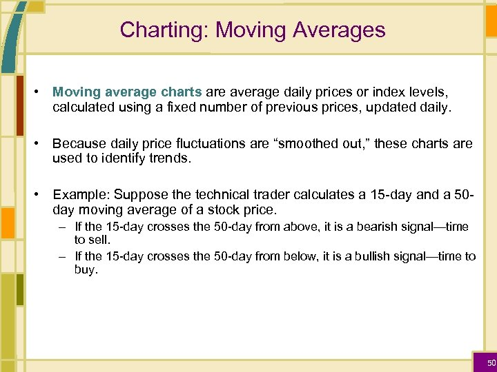 Charting: Moving Averages • Moving average charts are average daily prices or index levels,