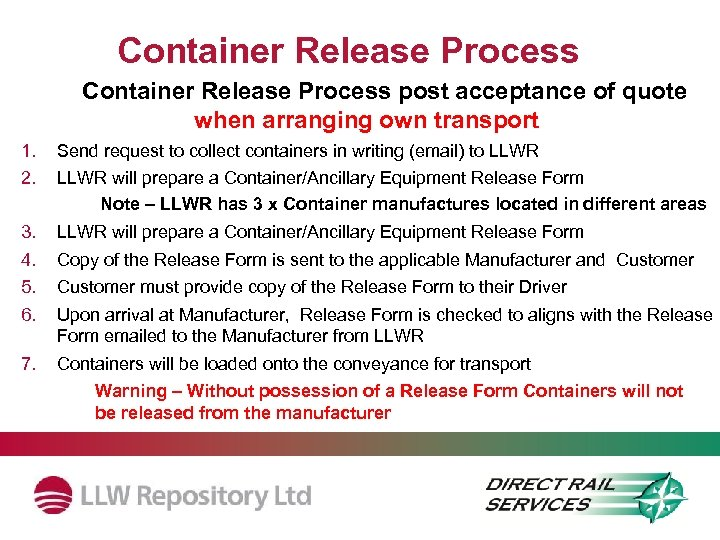 Container Release Process post acceptance of quote when arranging own transport 1. 2. Send