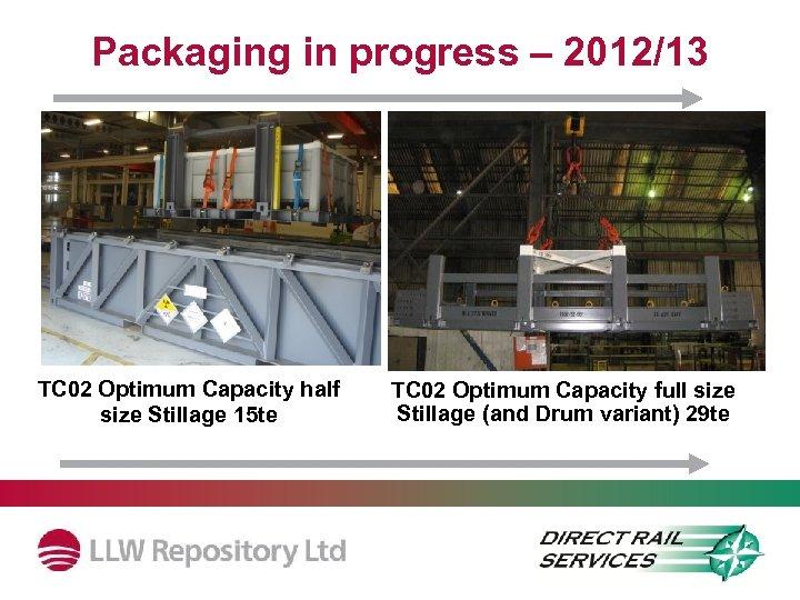 Packaging in progress – 2012/13 TC 02 Optimum Capacity half size Stillage 15 te