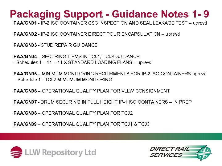 Packaging Support - Guidance Notes 1 - 9 PAA/GN 01 - IP-2 ISO CONTAINER