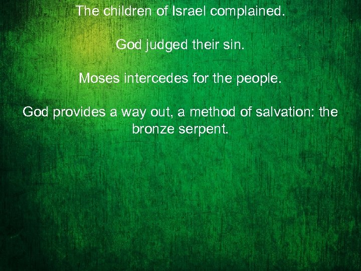 The children of Israel complained. God judged their sin. Moses intercedes for the people.