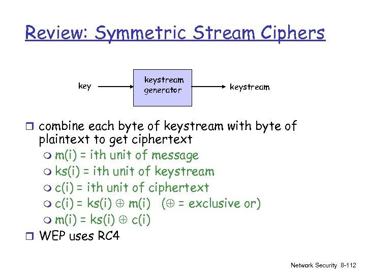 Review: Symmetric Stream Ciphers keystream generator keystream r combine each byte of keystream with