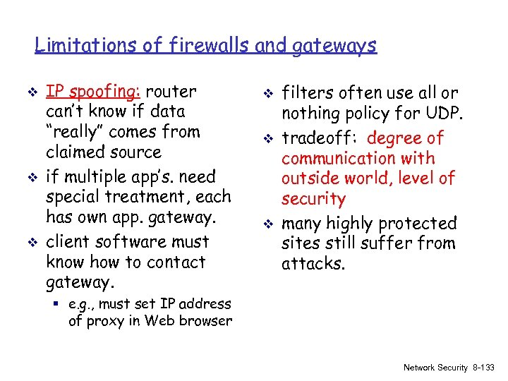 Limitations of firewalls and gateways v v v IP spoofing: router can't know if