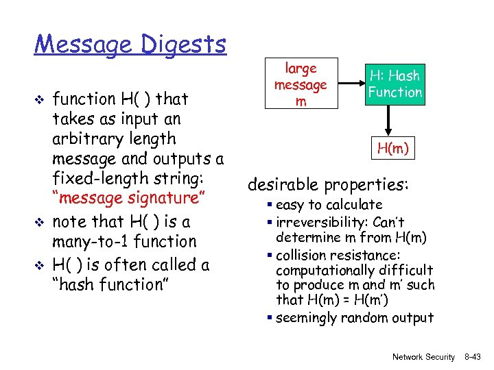 Message Digests v v v function H( ) that takes as input an arbitrary
