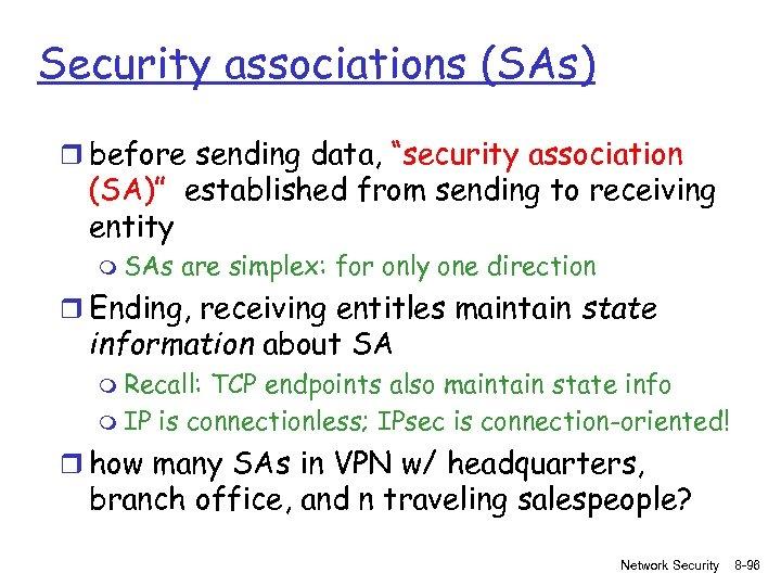 "Security associations (SAs) r before sending data, ""security association (SA)"" established from sending to"