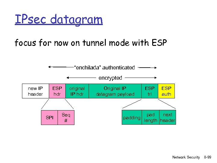 """IPsec datagram focus for now on tunnel mode with ESP """"enchilada"""" authenticated encrypted new"""