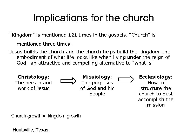"Implications for the church ""Kingdom"" is mentioned 121 times in the gospels. ""Church"" is"