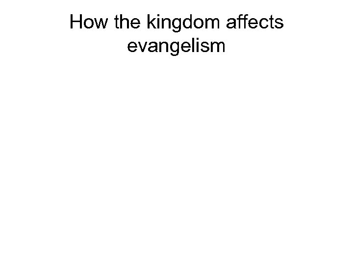 How the kingdom affects evangelism