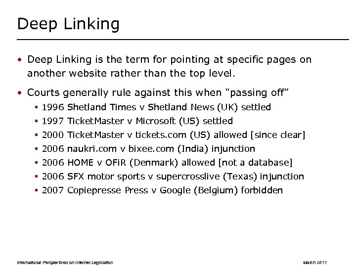 Deep Linking • Deep Linking is the term for pointing at specific pages on