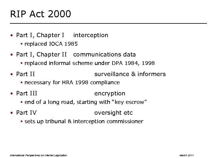 RIP Act 2000 • Part I, Chapter I interception § replaced IOCA 1985 •