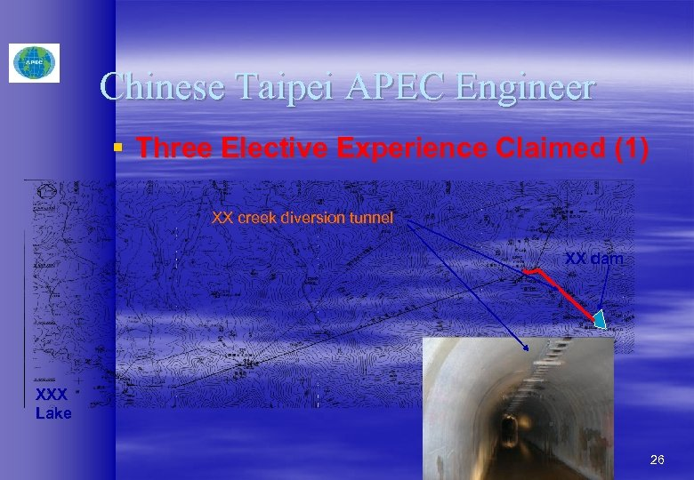 Chinese Taipei APEC Engineer § Three Elective Experience Claimed (1) XX creek diversion tunnel
