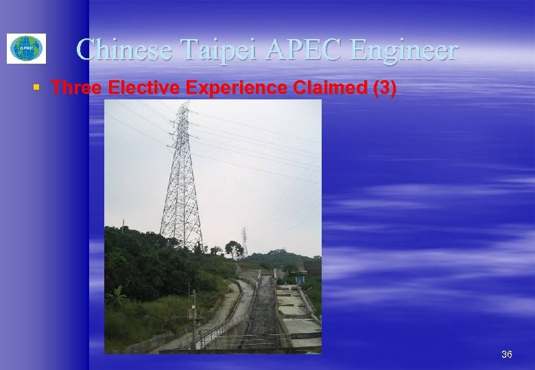 Chinese Taipei APEC Engineer § Three Elective Experience Claimed (3) 36