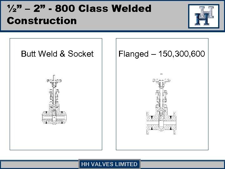 """½"""" – 2"""" - 800 Class Welded Construction Butt Weld & Socket Flanged –"""