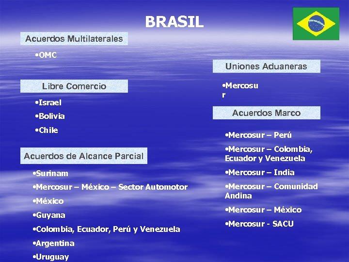 BRASIL Acuerdos Multilaterales • OMC Uniones Aduaneras Libre Comercio • Israel • Bolivia •