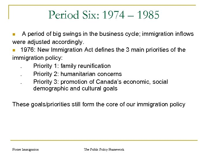 Period Six: 1974 – 1985 A period of big swings in the business cycle;