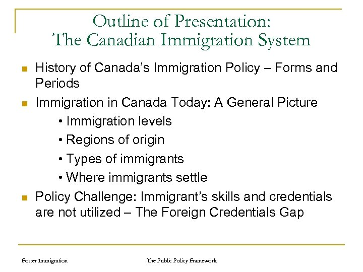 Outline of Presentation: The Canadian Immigration System n n n History of Canada's Immigration