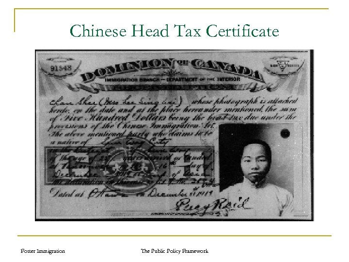 Chinese Head Tax Certificate Foster Immigration The Public Policy Framework