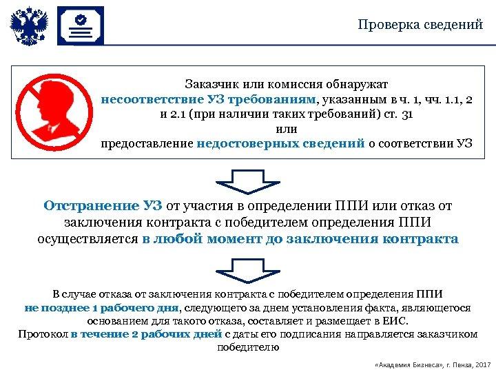 Проверка сведений Заказчик или комиссия обнаружат несоответствие УЗ требованиям, указанным в ч. 1, чч.