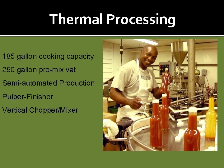 Thermal Processing 185 gallon cooking capacity 250 gallon pre-mix vat Semi-automated Production Pulper-Finisher Vertical