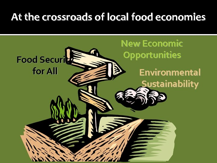 At the crossroads of local food economies Food Security for All New Economic Opportunities