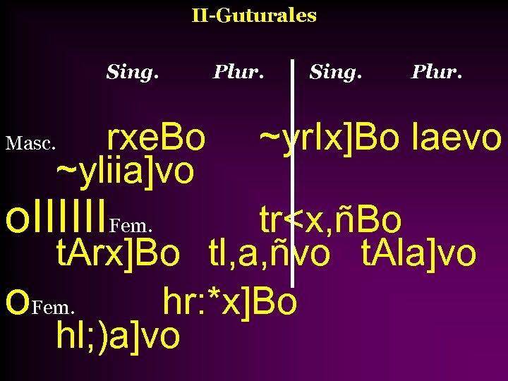 II-Guturales Sing. rxe. Bo ~yliia]vo Masc. o. IIIIIIFem. Plur. Sing. Plur. ~yr. Ix]Bo laevo