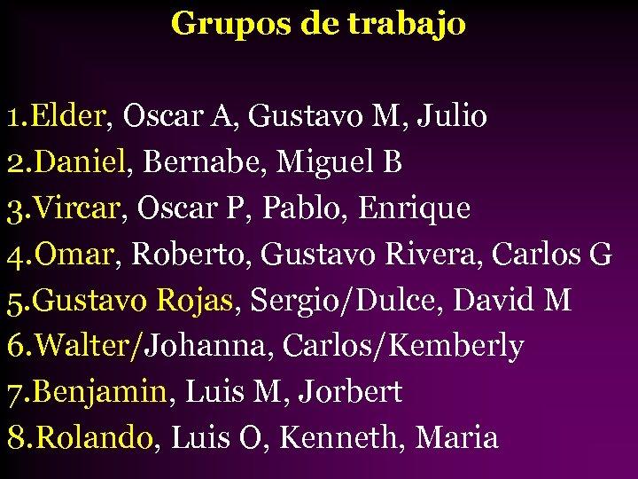 Grupos de trabajo 1. Elder, Oscar A, Gustavo M, Julio 2. Daniel, Bernabe, Miguel