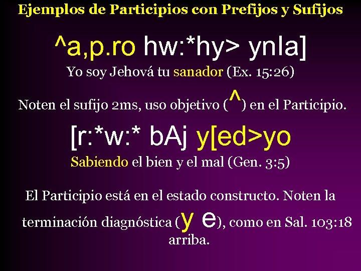 Ejemplos de Participios con Prefijos y Sufijos ^a, p. ro hw: *hy> yn. Ia]