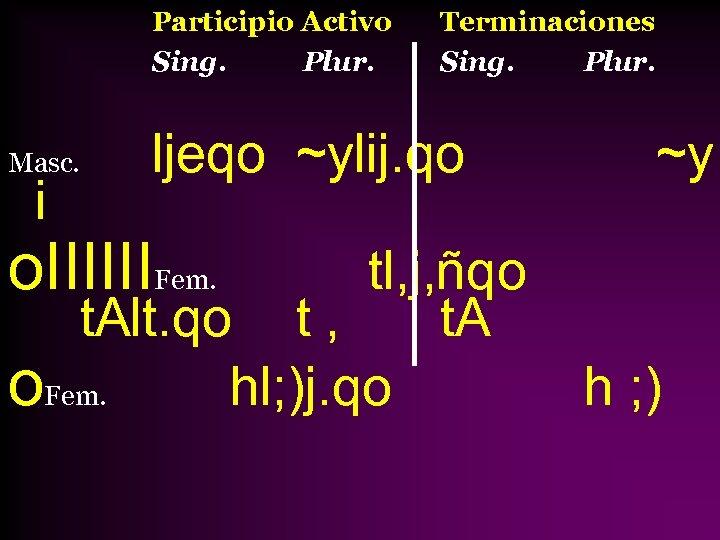 Participio Activo Sing. Plur. Masc. i Terminaciones Sing. Plur. ljeqo ~ylij. qo ~y o.
