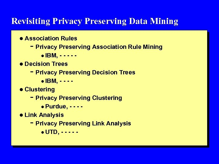 Revisiting Privacy Preserving Data Mining l Association Rules - Privacy Preserving Association Rule Mining