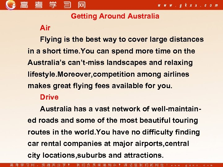 Getting Around Australia Air Flying is the best way to cover large distances in
