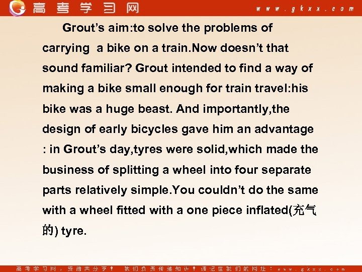 Grout's aim: to solve the problems of carrying a bike on a train. Now