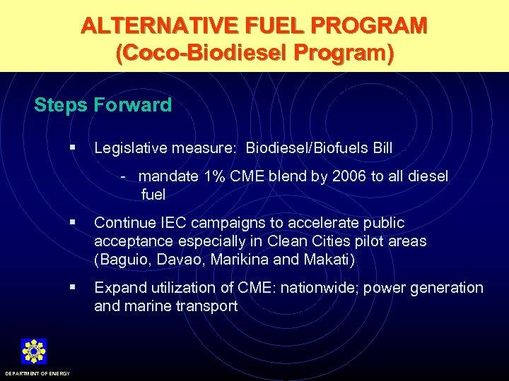 ALTERNATIVE FUEL PROGRAM (Coco-Biodiesel Program) Steps Forward § Legislative measure: Biodiesel/Biofuels Bill - mandate