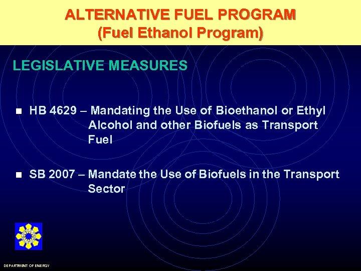 ALTERNATIVE FUEL PROGRAM (Fuel Ethanol Program) LEGISLATIVE MEASURES n HB 4629 – Mandating the