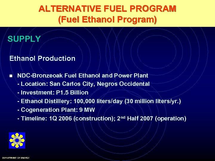 ALTERNATIVE FUEL PROGRAM (Fuel Ethanol Program) SUPPLY Ethanol Production n NDC-Bronzeoak Fuel Ethanol and