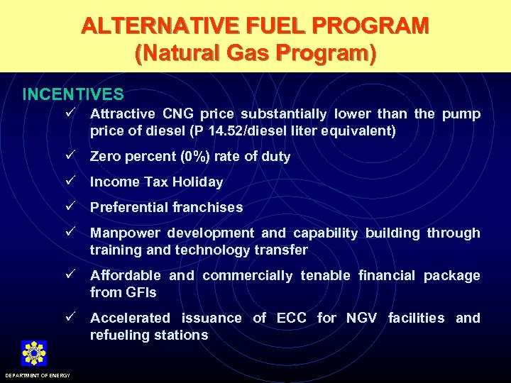 ALTERNATIVE FUEL PROGRAM (Natural Gas Program) INCENTIVES ü Attractive CNG price substantially lower than
