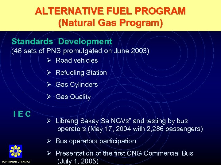 ALTERNATIVE FUEL PROGRAM (Natural Gas Program) Standards Development (48 sets of PNS promulgated on