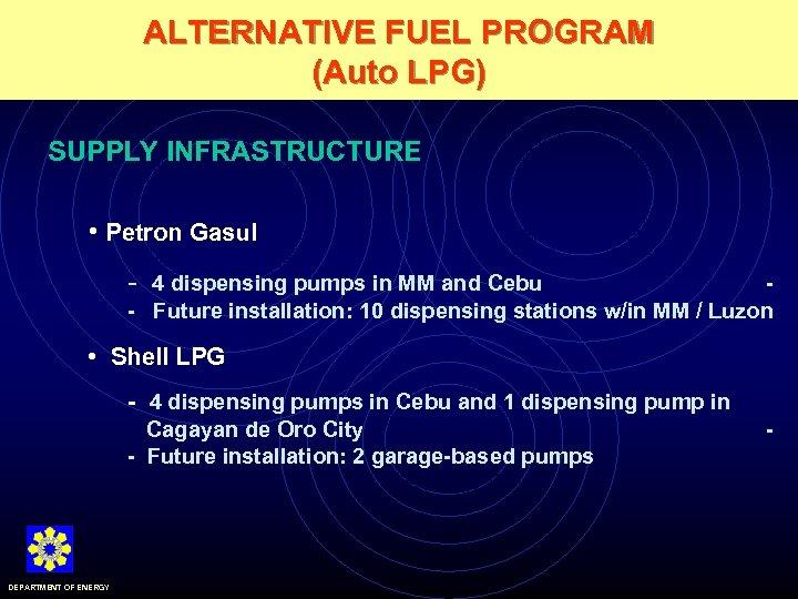 ALTERNATIVE FUEL PROGRAM (Auto LPG) SUPPLY INFRASTRUCTURE • Petron Gasul - 4 dispensing pumps